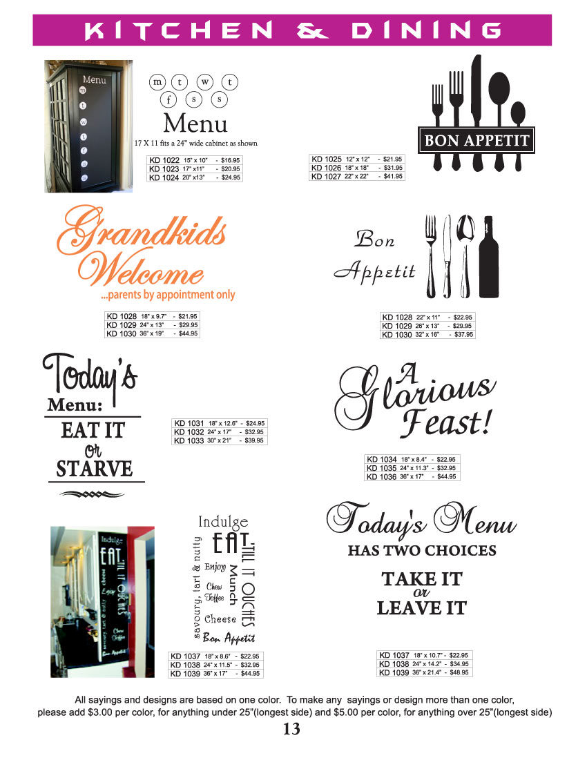 Wall graphics vinyl graphics graphic designs lettering for Kitchen design quotes